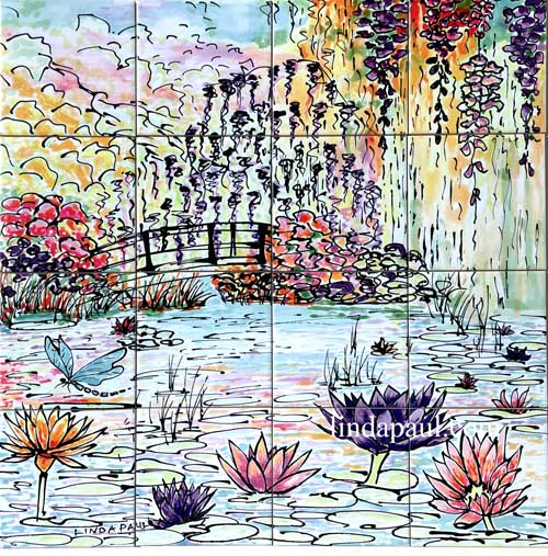 monet garden tile mural backsplash