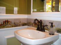Kitchen backsplash tile murals of tuscan landscape by artist linda