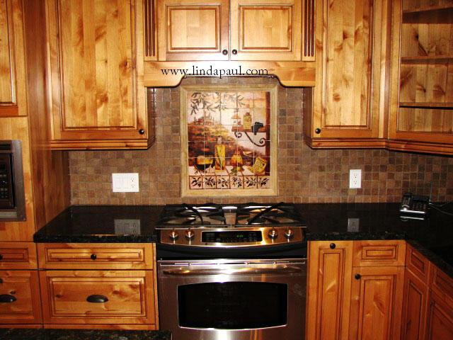 design tuscan kitchen tile backsplash mural luxury home interior