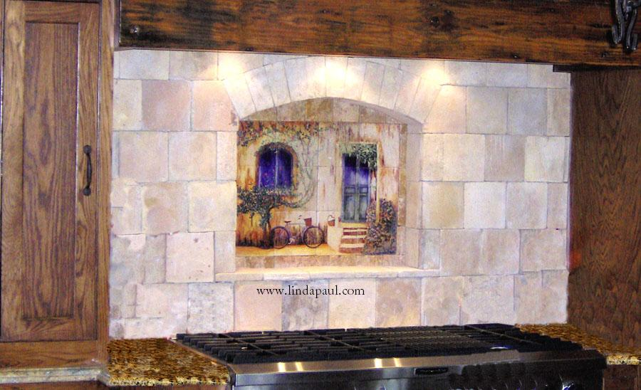 Tile wall murals and backsplashes of france and french for Backsplash tile mural