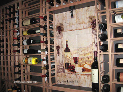 wine country mural in wine cellar