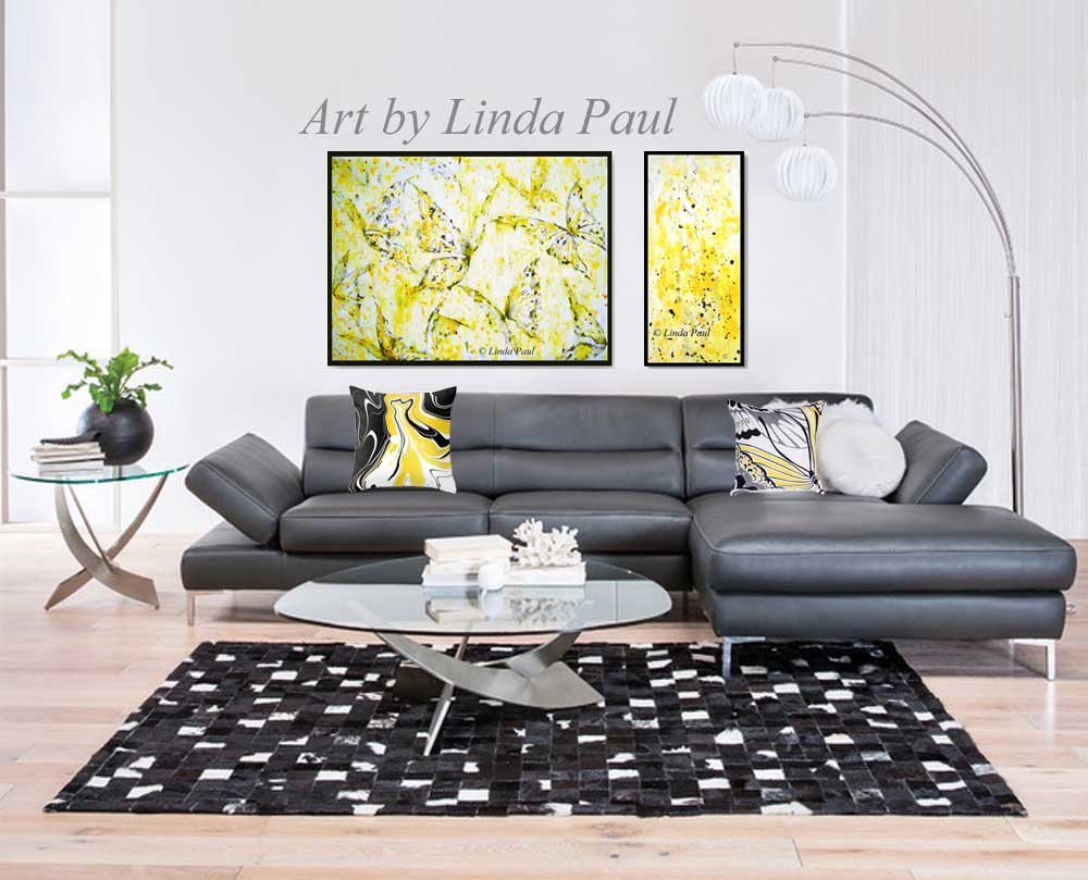 yellow wall decor art - butterfly painting