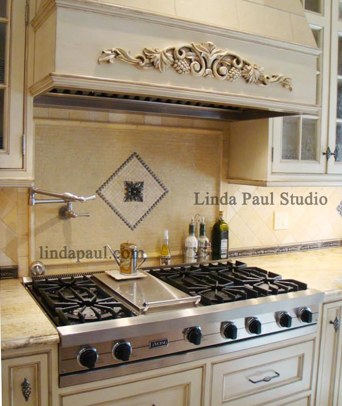 tile medallions for kitchen backsplash tribeca metal and stone backsplash mosaic tile medallion 8463