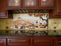 vineyard backsplash in wine cabinet mural size 56 x 24