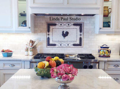 custom rooster backsplash medallion in white kitchen