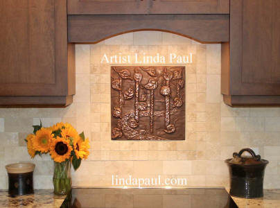 aspen leaves copper backsplash medallion