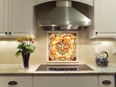 modern kitchen with fleur de lis backsplash