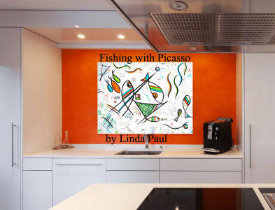 white kitchen with orange accent wall and fish art