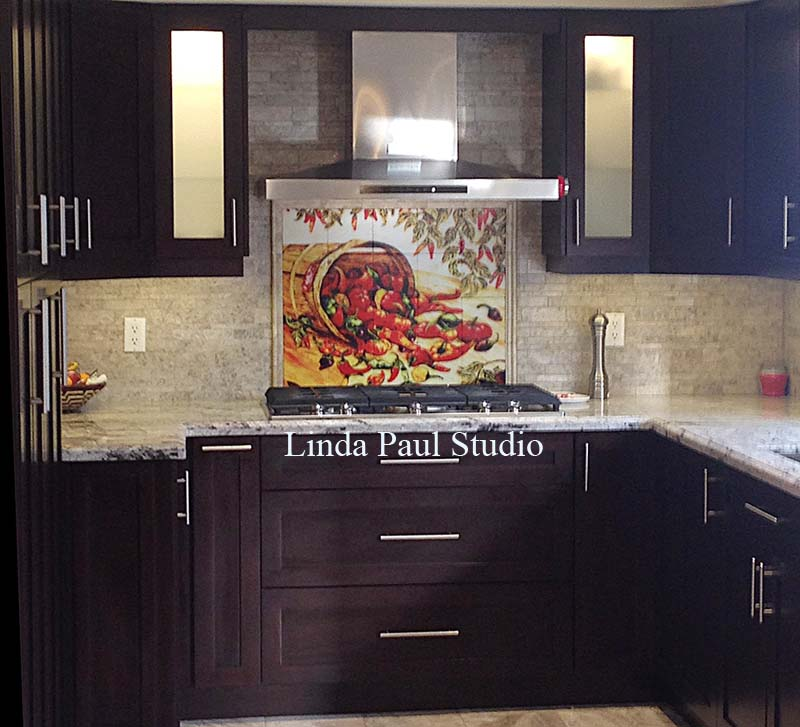 picture shows my pepper pail in modern kitchen with dark cabinets and