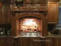 Tuscan tile mural over stove
