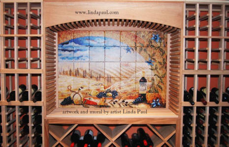 tuscany window mural in wine cellar