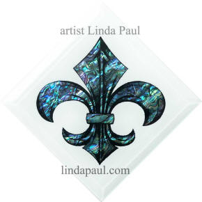 blue and white fleur de lis tile