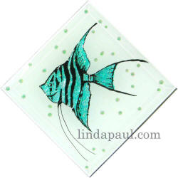 aqua blue seal glass  angel fish tile