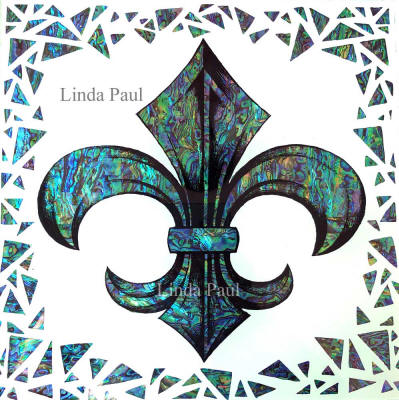 fleur de lis and paua shell tile