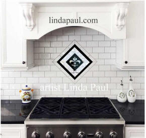 black and white kitench backsplash