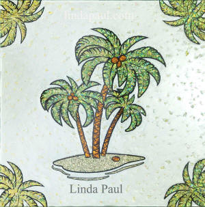 palm tree original tile glass art