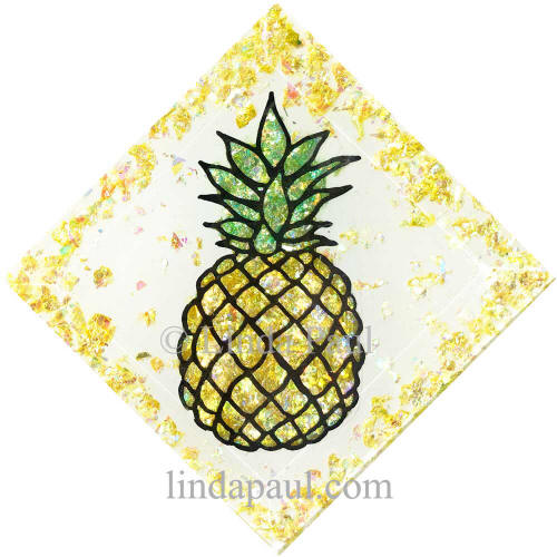 handmade pineapple glass tile