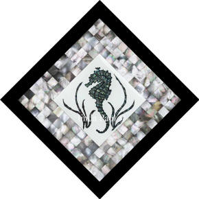 seahorse mosaic tile black mother of pearl