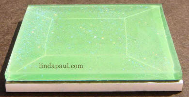 side view green glass tile