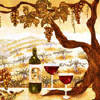 wine art paintings and tile backsplashes