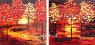 set of 2 contemporary landscape painitng with red trees
