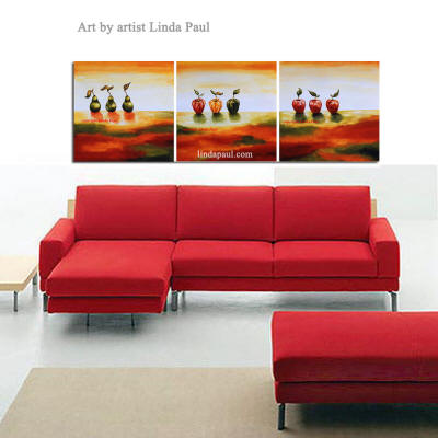 painting over red sofa