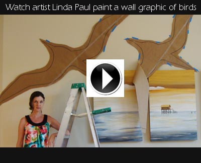 youtube video How to paint a large bird wall art graphic