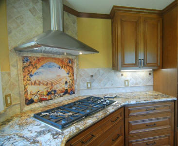 tuscany arch tile mural over stove