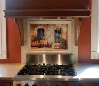 french country tile mural backsplash tiles