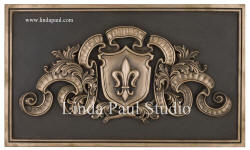 Fleur de lys backsplash bronze plaque