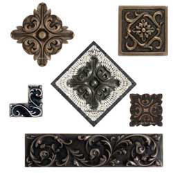 flower metal tile accent
