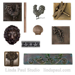 accents tiles of roosters, dragonfly, gecko, seashells bamboo and palm tree metal tile