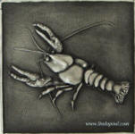 crawfish or lobster 6x6 metal tile accent and sculpture