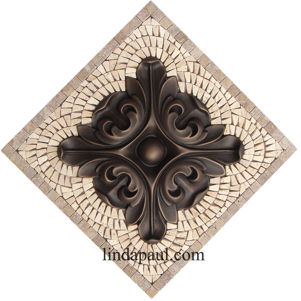 Kitchen Backsplash Medallions Samll Mosaic Stone And