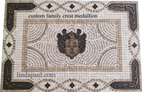 family crest backsplash medallion