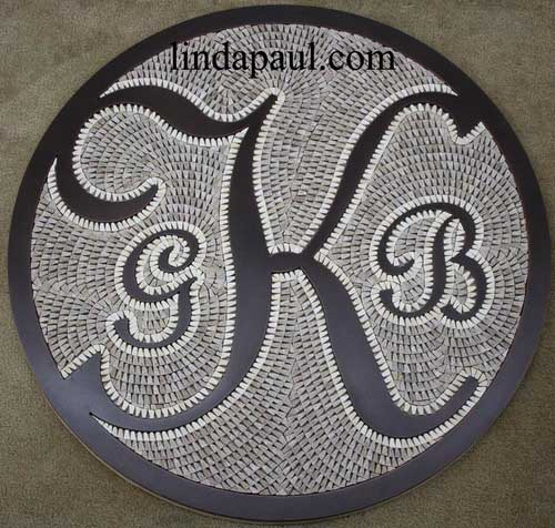 custom monogram kitchen backsplash or floor medallion