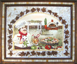 Italian Pizza Kitchen original framed painting