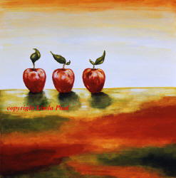 three apples contemporary paintings