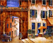French painted tile mural - Provence