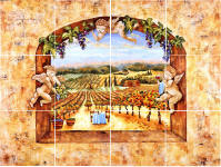 kitchen tile murals of vineyard and angels