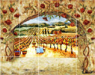 roses n Vines tile mural backsplash