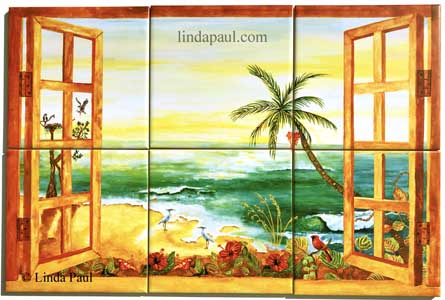 tropical florida tile mural