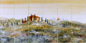 tuscan landscape tiles splash back