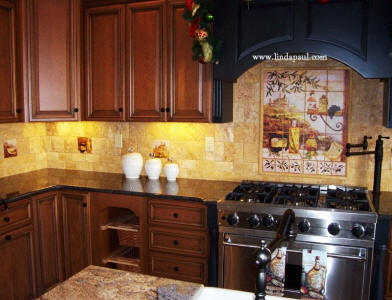 tuscan kitchen with accent tiles